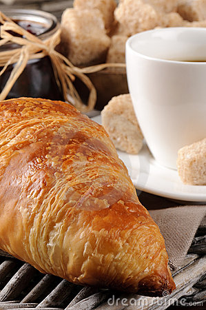 Free Breakfast With Coffee, French Croissant And Jam Royalty Free Stock Photography - 20556317