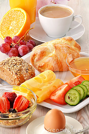Free Breakfast With Coffee, Rolls, Egg, Orange Juice Royalty Free Stock Images - 24387189