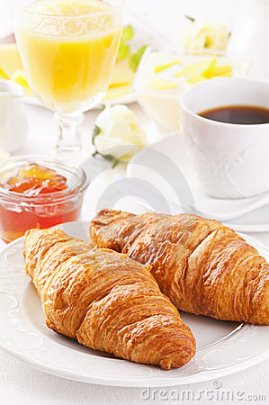 Free Breakfast With Croissant Stock Images - 23277034