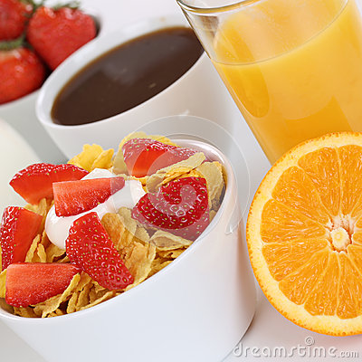 Free Breakfast With Fruit Cereals, Milk, Orange Juice And Coffee Royalty Free Stock Photo - 41850205