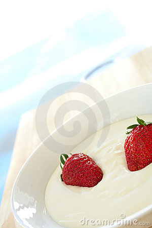 Breakfast yogurt with strawberries