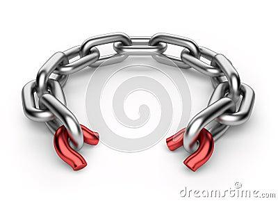 Breaking chain. Weak link concept 3D