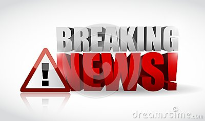 Breaking news warning sign illustration design