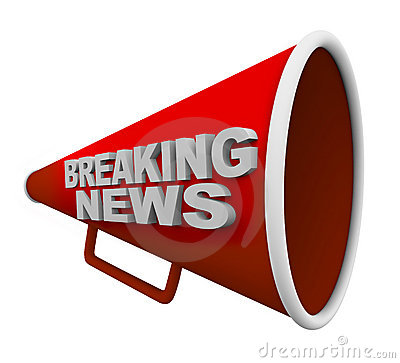 Free Breaking News - Words On Bullhorn Stock Images - 17345254