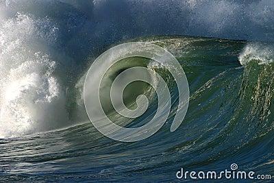 Breaking Ocean Wave at Waimea Bay Hawaii Stock Photo