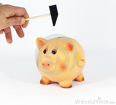 Breaking piggy bank