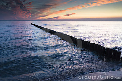 Breakwater in sea