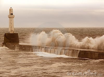 Breakwater Storm Stock Photo