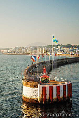 Free Breakwater With Flags In The Kattegat Strait Stock Images - 16250384
