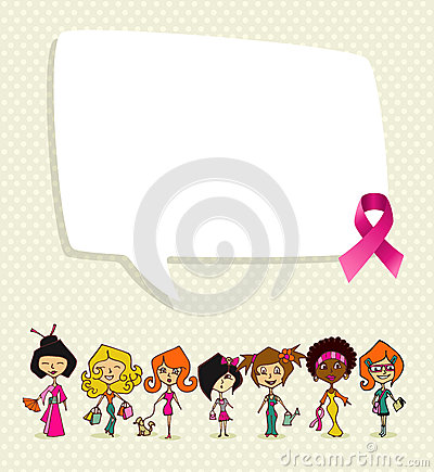 Breast cancer awareness ribbon social bubble women group EPS10 f
