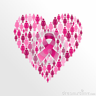 Free Breast Cancer Awareness Ribbon Women Heart Shape. Royalty Free Stock Photo - 34460675