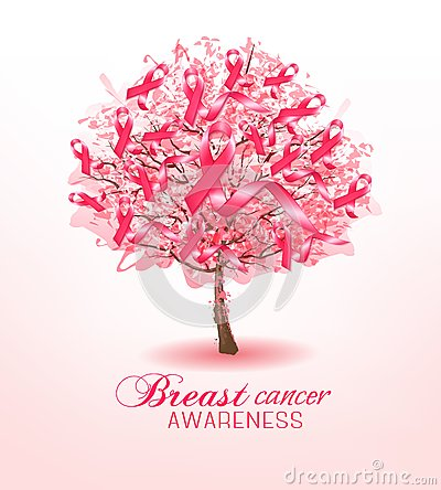 Breast Cancer Awareness Ribbons On A Sakura Tree  Vector