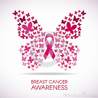 Free Breast Cancer Awareness With Butterfly Sign And Pink Ribbon Vector Illustration Stock Images - 67475354