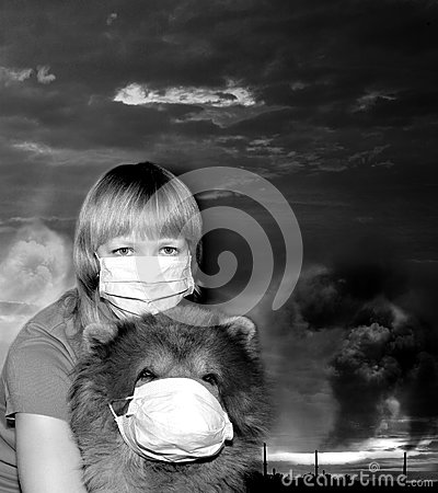Free Breathe Dirty Air Through A Mask Royalty Free Stock Photos - 94027878