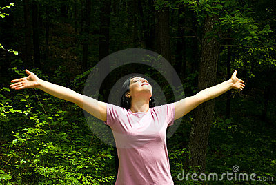 Breathing the fresh air from a spring forest