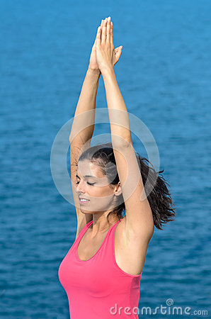 Breathing yoga exercise with sea