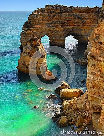 Breathtaking Cliffs Beach Islands Algarve Coast, Portugal