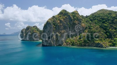 Limestone Rocks Of Lagen Island El Nido Palawan Philippines Paradise Tropical Sandy Ipil Beach With Azure Turquoise