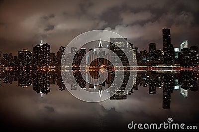 Brede hoek van de horizon van New York