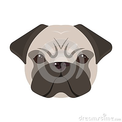 Free Breed Of A Dog, A Pug.Pug`s Muzzle Single Icon In Cartoon Style Vector Symbol Stock Illustration Web. Royalty Free Stock Photo - 100685425