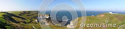Breed panorama van overzees en klippen in Flamborough, het UK