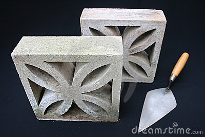 Breeze blocks and trowel.