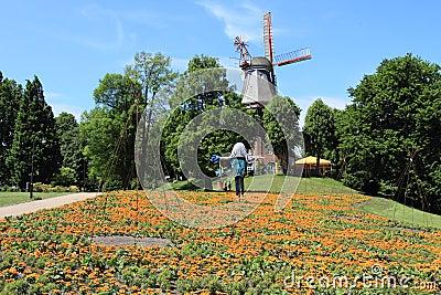 Bremen wall garden in spring, Germany
