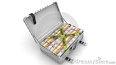 bribe Mala de viagem completamente do dinheiro ilustração do vetor