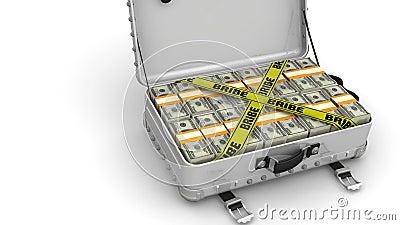 bribe Mala de viagem completamente do dinheiro ilustração stock