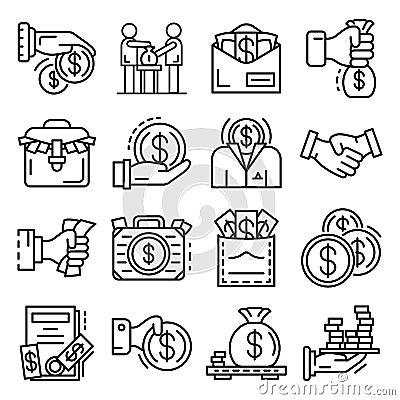 Free Bribery Icon Set, Outline Style Stock Photo - 130721080