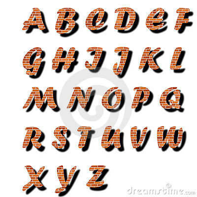 Brick alphabet text