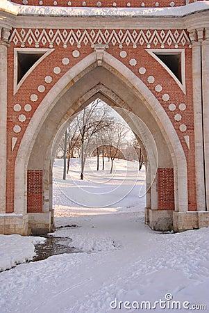 Brick bridge across the ravine in Tsaritsyno