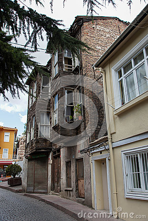 The brick building in the Old Town in Istanbul, Tu Editorial Photo