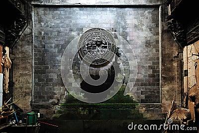 Brick carving on wall, Wuyuan