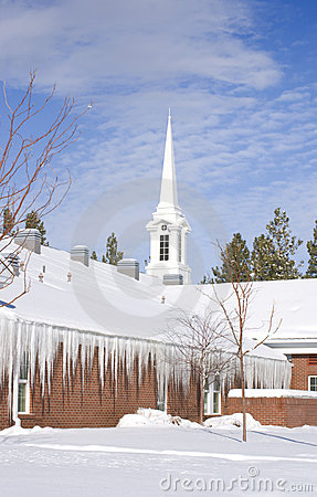 Brick Church covered with Snow and Icicles