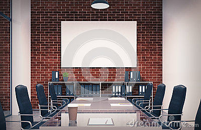 Brick conference room, poster, toned Stock Photo