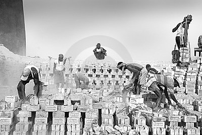 Brick field labour in India Editorial Photography