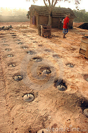 Brick field in West Bengal-India Editorial Photography