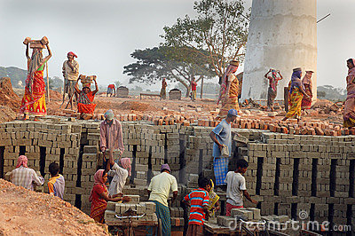 Brick field in West Bengal-India Editorial Image
