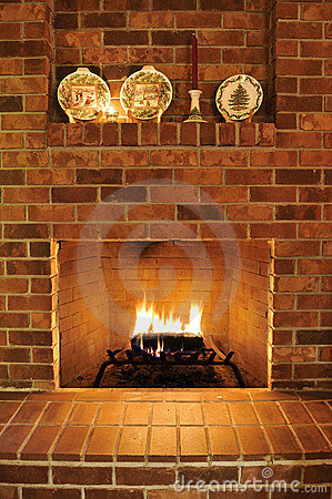 Free Brick Fireplace Stock Photos - 12300443