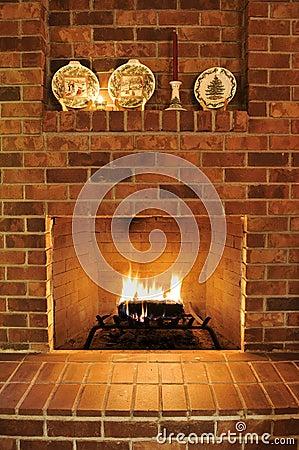 Free Brick Fireplace Stock Photos - 12300443
