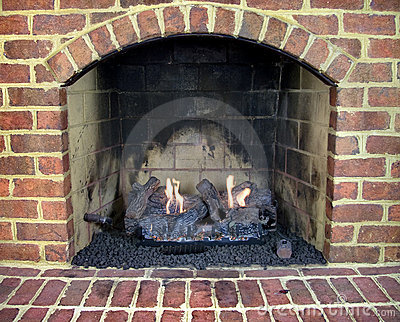 Brick gas fireplace