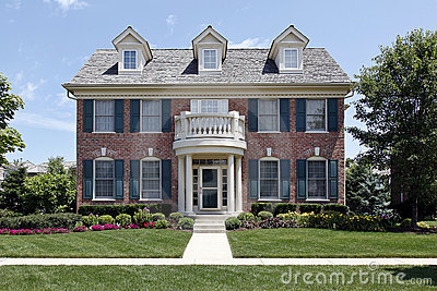 Brick Home With Blue Shutters Stock Photos Image 13458023