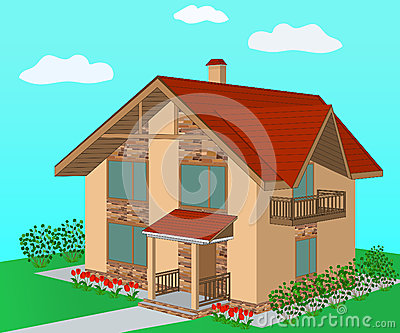 Brick home with decorative stone trim, illustration