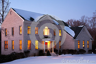 Brick House at Dusk with Snow