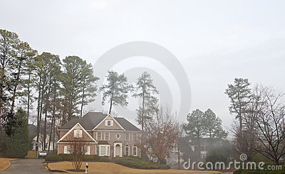 Brick House on Foggy Day