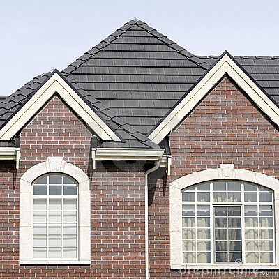 Free Brick House Home Exterior Tile Roof Stock Image - 13595371