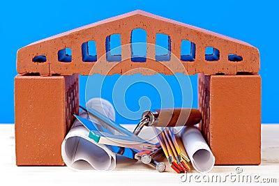 Brick house symbol and tools