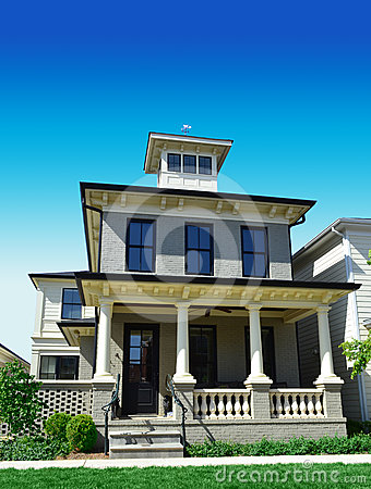 Free Brick House With Widow S Peak Royalty Free Stock Photo - 24443425