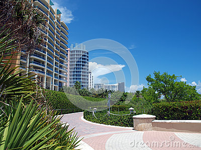 Brick path in Miami Beach Florida
